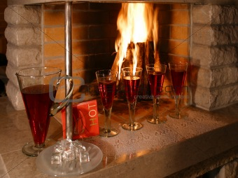 Fireplace and wineglasses.