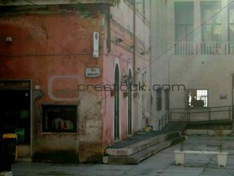 Foggy italian street corner