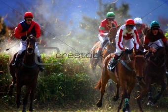 The horses clear the fence in the steeplechase.