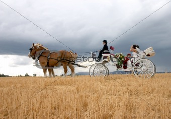 Bride and groom carriage ride