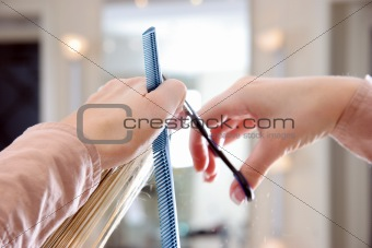close up cutting hair
