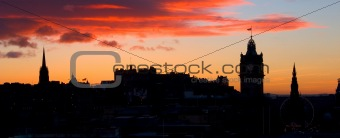 December sunset over Edinburgh Castle