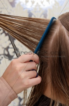 close up of combing hair