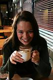 girl drinking cappucino