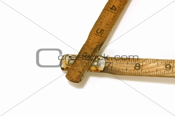 Close up shot on a vintage measuring tape / ruler
