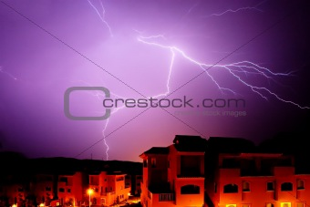 Amazing bolt of lightening during thunder storm at night in Spain