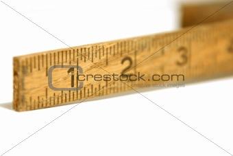 Close up shot on a vintage measuring tape / ruler