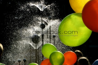 fountain and baloons