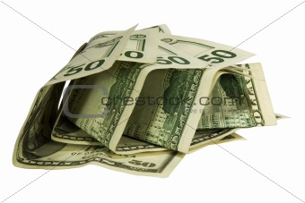 50 dollars isolated on white background with clipping path
