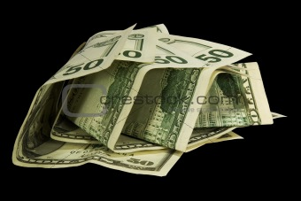 50 dollars isolated on black background with clipping path