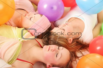 asleep amongst balloons