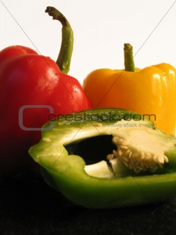 Three colour peppers