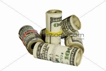 100 dollars rolls isolated on white background with clipping path