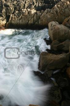 Waves Crashing into the Rocky Coast