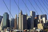 View of lower Manhattan through suspension cables