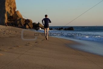 Runner on Beach Shore