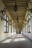 Corridor displaying hunting trophys
