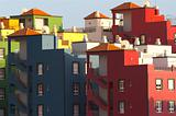 Multicolored buildings in Playa de las Americas, Tenerife