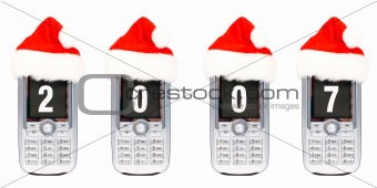 Four Christmas cellular mobile phones