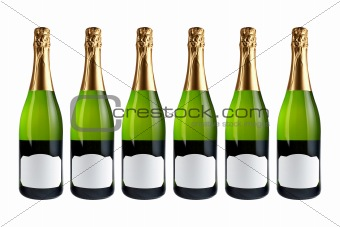 Six champagne bottles
