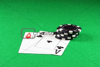 Poker - A Pair of Aces with Poker chips