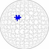 Spherical jigsaw, with clipping path.