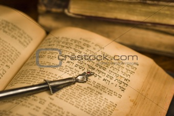 Old hebrew bible and pointer