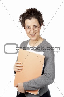 Business woman holding a folders