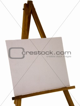 An easel, with blank canvas