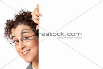Business woman behind the  blank billboard