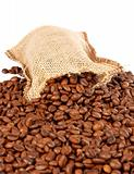 Burlap sack and coffee beans