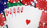 Royal flush and casino chips