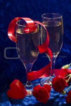 champagne, heart and flowers