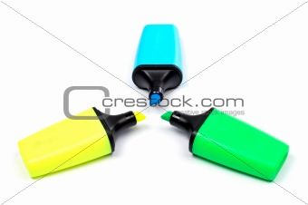 Three coloured labellers