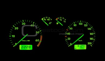 Green neon car dashboard
