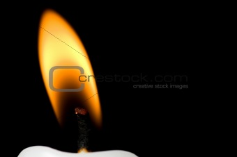 Horizontal flame close up