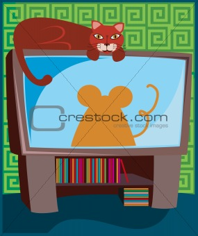 Kitty on the TV