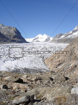 Aletsch Glacier in the Bernese Alps in Valais, Switzerland
