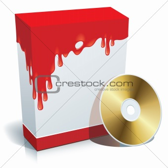 Box with bloody background