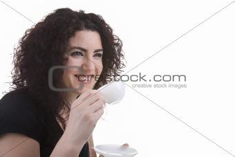Beautiful Woman Having an Espresso