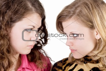 Portrait of the two beauty young women. Isolated