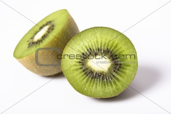 a detail of a kiwi fruit on white background