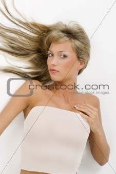 blond laying with open hair