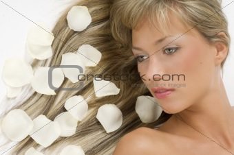 blond hair white petals