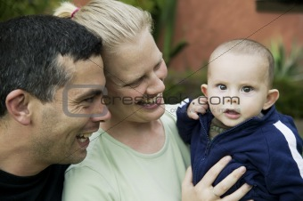 Mixed Hispanic Family with Cute Baby Boy