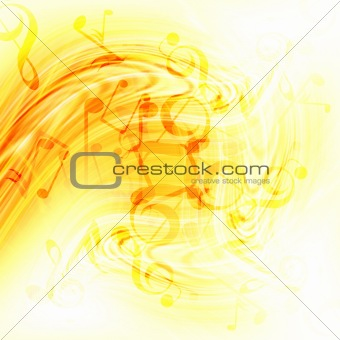 Abstract flowing fire background with notes