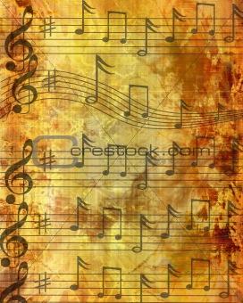 Grunge brown music sheet