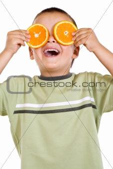 Boy with orange slices