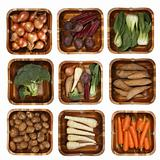 eight different vegetables in wooden basket isolated over white