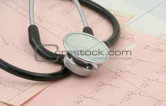 cardiological tests with stethoscope